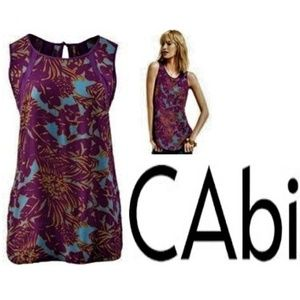 CAbi large Teal and Plum patterned sleeveless Tank